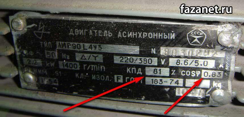 Zavodskie dannye elektrodvigatelya