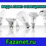 Виды ламп освещения